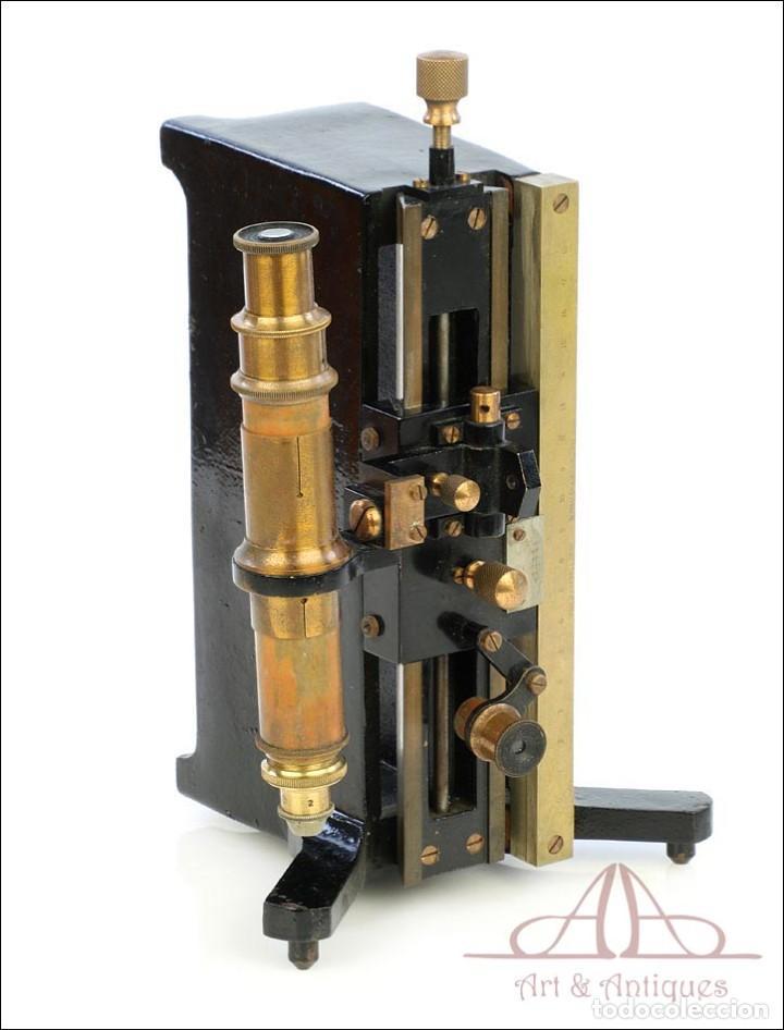 Antigüedades: Antiguo Microscopio Tipo Vernier, Philip Harris. Inglaterra, Circa 1920 - Foto 15 - 223388028
