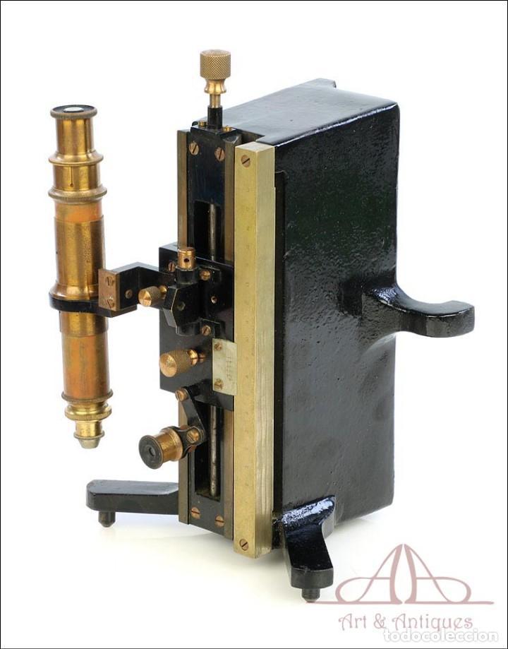 Antigüedades: Antiguo Microscopio Tipo Vernier, Philip Harris. Inglaterra, Circa 1920 - Foto 16 - 223388028