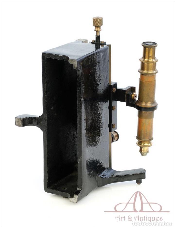 Antigüedades: Antiguo Microscopio Tipo Vernier, Philip Harris. Inglaterra, Circa 1920 - Foto 18 - 223388028