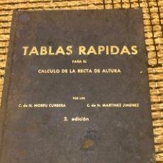 Antigüedades: TABLAS RÁPIDAS PARA EL CALCULO DE LA RECTA DE ALTURA. Lote 223401737