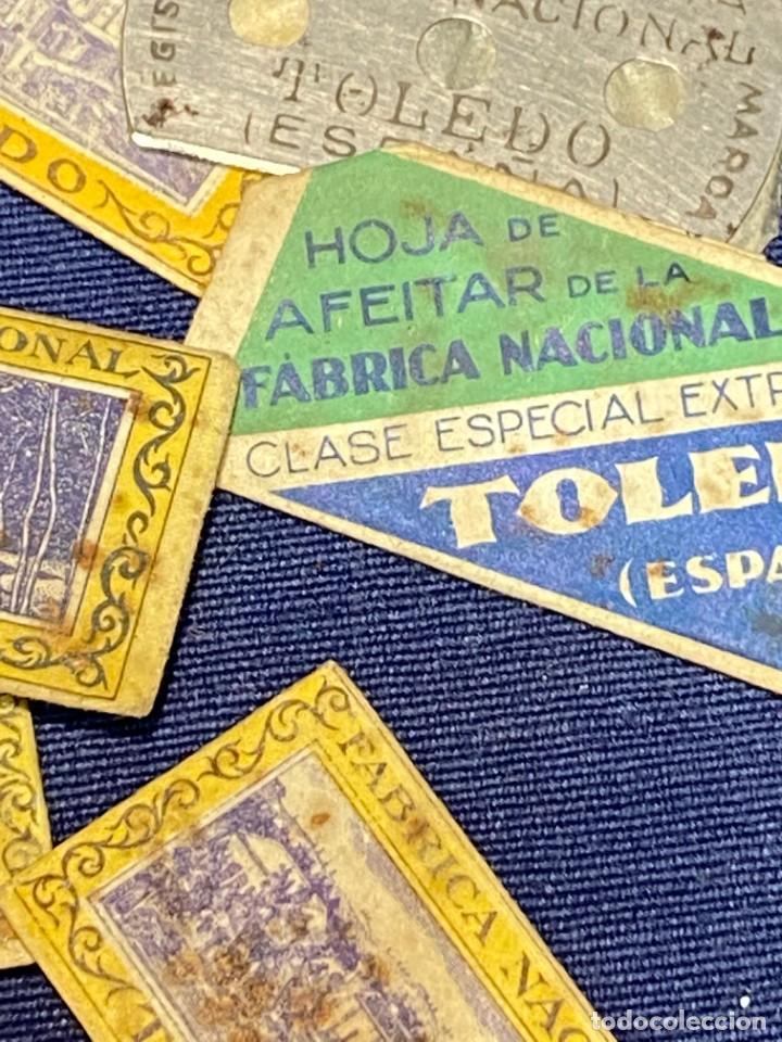 Antigüedades: 10 hojas afeitar fabrica nacional toledo sin caja ppio s xx ver fotos 5x2,5cms - Foto 5 - 223439632