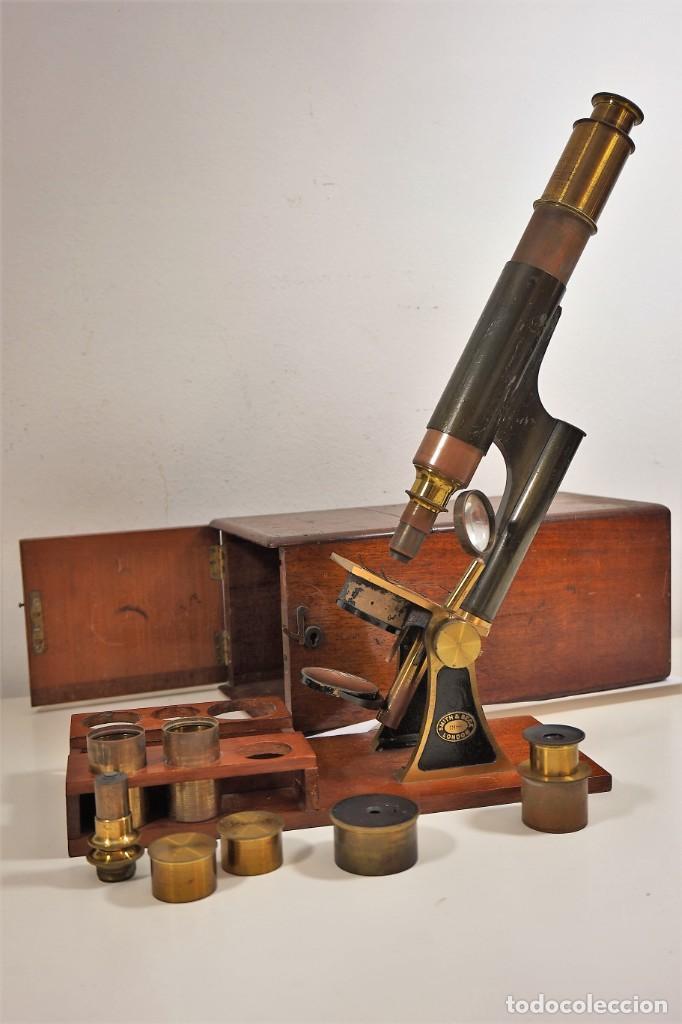 """ANTIGUO MICROSCOPIO INGLÉS """"SMITH AND BECK"""" MODELO MILKBOX C. 1847 (Antigüedades - Técnicas - Instrumentos Ópticos - Microscopios Antiguos)"""