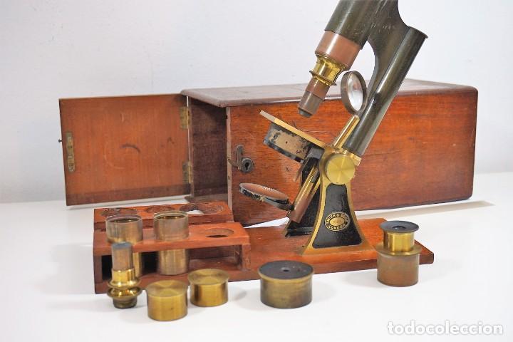 "Antigüedades: ANTIGUO MICROSCOPIO INGLÉS ""SMITH AND BECK"" modelo MILKBOX c. 1847 - Foto 12 - 223499410"