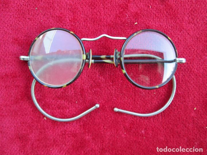 LENTES, GAFAS VALLE INCLAN CON MONTURA METALICA FORRADA CON SIMIL CAREY Y NACAR EN ALMOHADILLAS (Antigüedades - Técnicas - Instrumentos Ópticos - Gafas Antiguas)