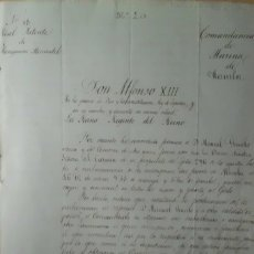 Antigüedades: REAL PATENTE DE NAVEGACION MERCANTIL, MANILA, FILIPINAS DICIEMBRE 1.891, FIRMADA POR REINA REGENTE. Lote 224722282