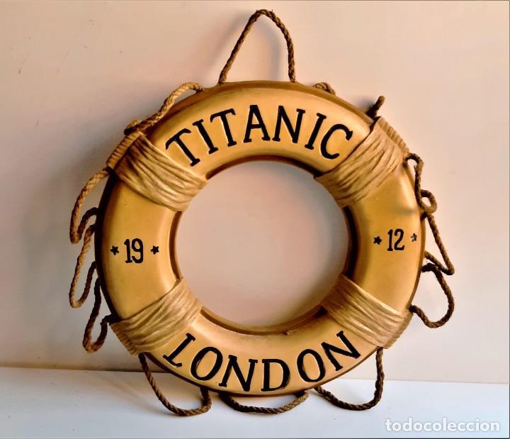 1912 TITANIC FLOTADOR LONDON - 40.CM DIAMETRO DE RESINA DECORACION DE COLGAR (Antigüedades - Antigüedades Técnicas - Marinas y Navales)