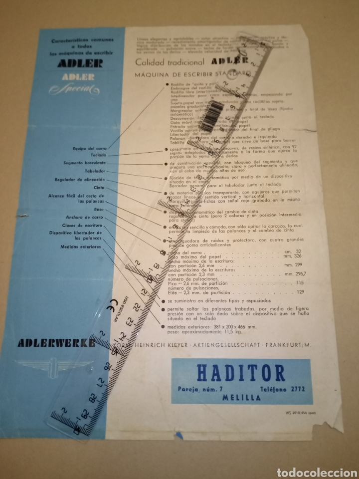 Antigüedades: Publicidad maquina escribir Adler Haditor Melilla - Foto 2 - 224776002