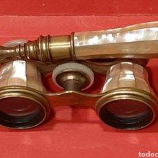 Antigüedades: BINACULARES ANTIGUOS DE NÁCAR Y BRONCE.. Lote 225728848