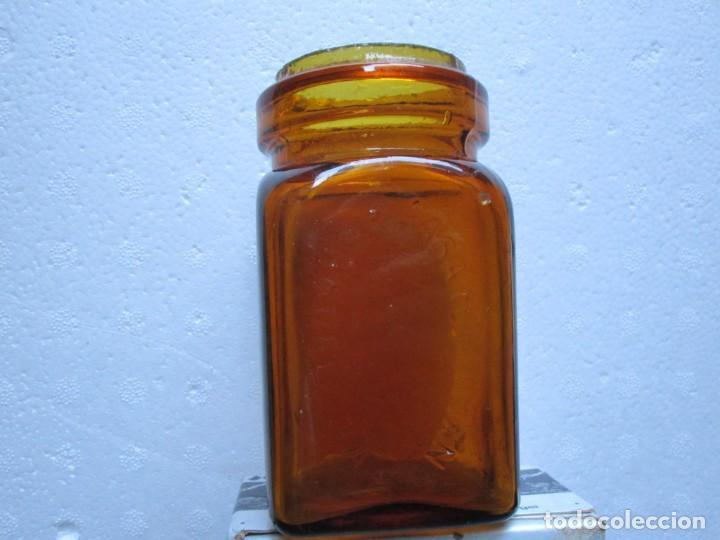 Antigüedades: Tarro de vidrio ámbar para gasas de la marca HARTMANN BARCELONA - aprox 1920/30 11cm + info - Foto 3 - 226008123