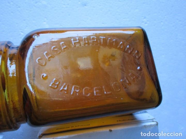 TARRO DE VIDRIO ÁMBAR PARA GASAS DE LA MARCA HARTMANN BARCELONA - APROX 1920/30 11CM + INFO (Antigüedades - Técnicas - Herramientas Profesionales - Medicina)