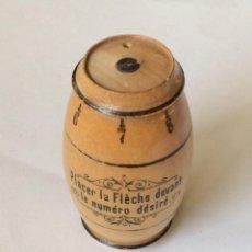 Antigüedades: ANTIGUO ALFILITERO FRANCÉS EN FORMA DE TONEL/BARRICA EN MADERA-IDEAL COLECCIONISTAS. Lote 226284621