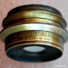 Antigüedades: OBJETIVO DE CÁMARA DE PLACAS, CON DIAFRAGMAS.J LANCASTER & ON 10X8 RECTALINIGRAPH PATENT W.A. BRASS. Lote 169172900