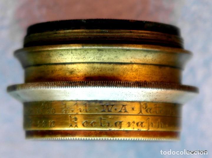 Antigüedades: Objetivo de cámara de placas, con diafragmas.J Lancaster & on 10x8 rectalinigraph Patent W.A. brass - Foto 4 - 169172900