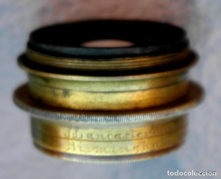 Antigüedades: Objetivo de cámara de placas, con diafragmas.J Lancaster & on 10x8 rectalinigraph Patent W.A. brass - Foto 6 - 169172900