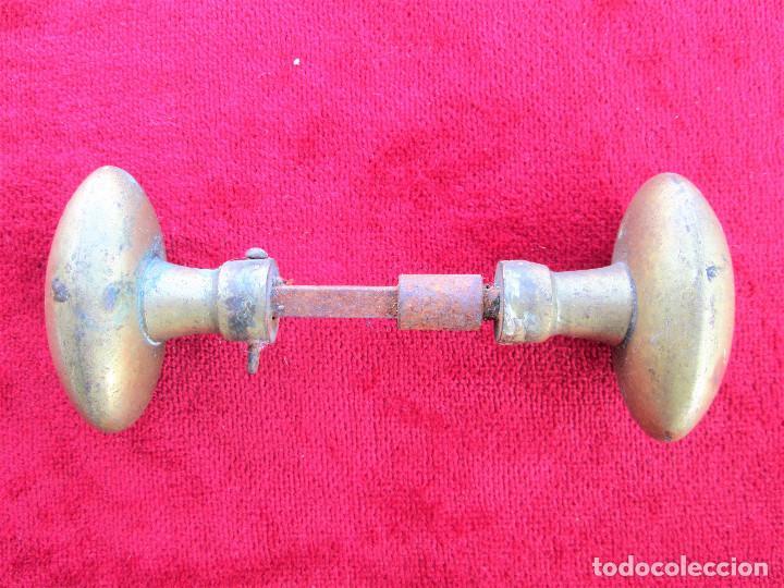 Antigüedades: 2 TIRADORES DE BRONCE CON SU CUADRADILLO DE 0,5 X 0,5 EN BUEN ESTADO - Foto 2 - 226850795