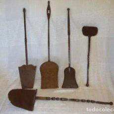 Antigüedades: 5 BADILAS DE CHIMENEA O COCINA, SIGLO XVIII Y XIX.HIERRO FORJA, FORJADO. Lote 226942560