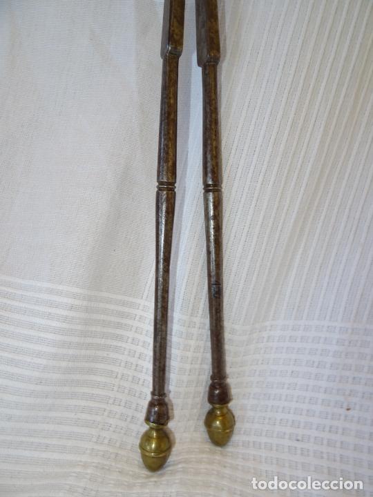 Antigüedades: Preciosa Tenaza hierro forja y bronce, siglo XVIII, chimenea fuego cocina, tijeras - Foto 6 - 226942815