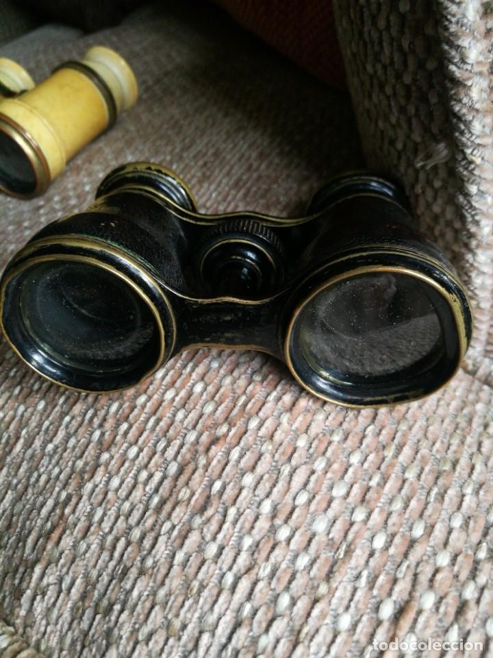 Antigüedades: Dos Gemelos, Binoculares, Prismáticos. Siglo XIX, uno de marfil sin roturas. - Foto 12 - 224821491
