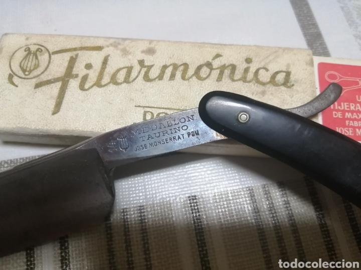 NAVAJA DE AFEITAR FILARMONICA JOSÉ MONTSERRAT POU 14 (Antigüedades - Técnicas - Barbería - Navajas Antiguas)