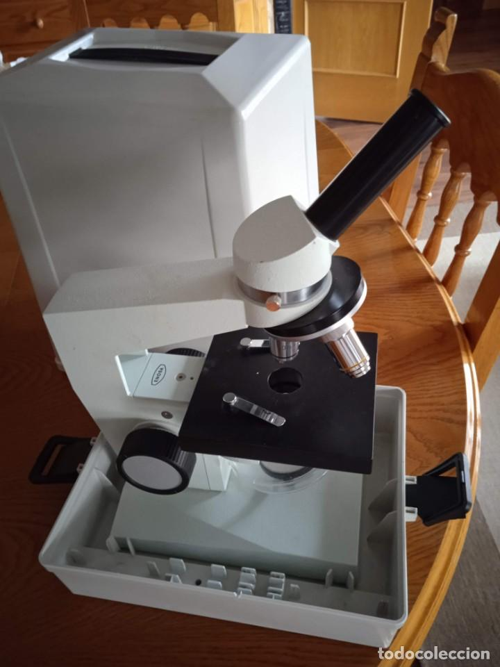 Antigüedades: Microscopio monocular profesional escolar Enosa 1980 - Foto 8 - 243228590
