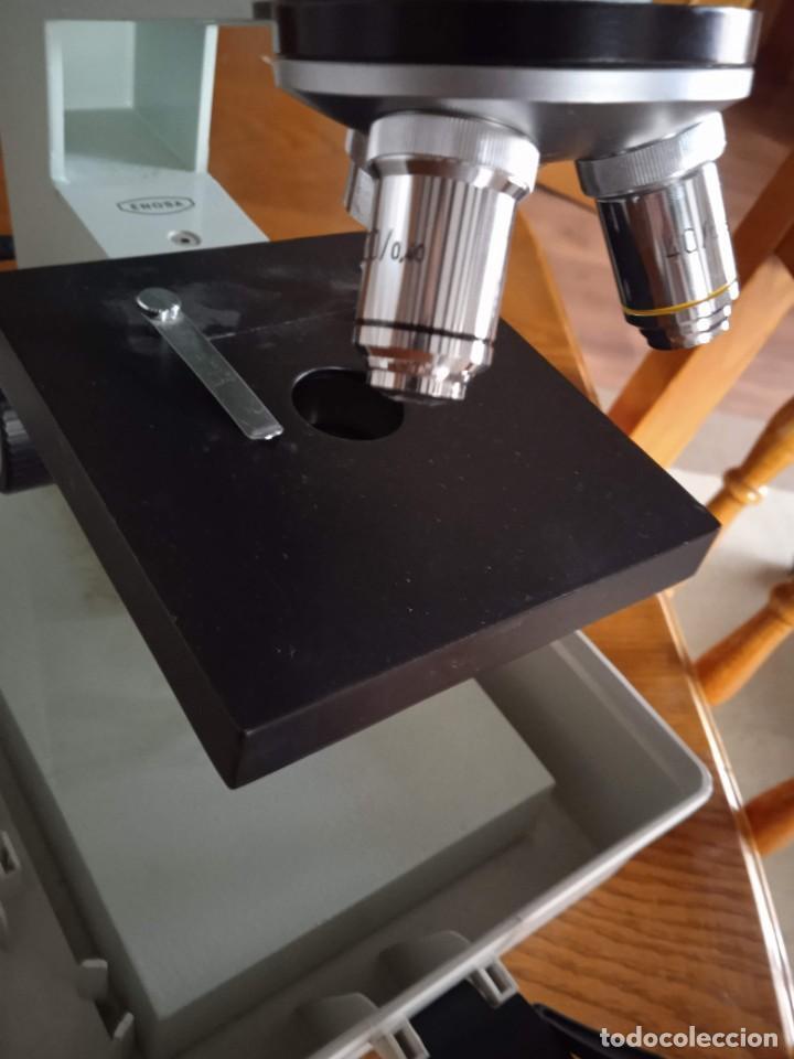 Antigüedades: Microscopio monocular profesional escolar Enosa 1980 - Foto 14 - 243228590