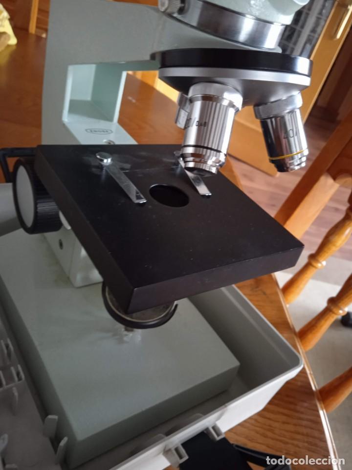 Antigüedades: Microscopio monocular profesional escolar Enosa 1980 - Foto 15 - 243228590