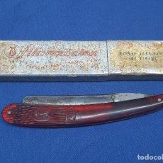 Antigüedades: NAVAJA FILARMONICA JOSE MONSERRAT POU CAJA ORIGINAL, ESPECIAL BARBAS DURAS.. Lote 227747869