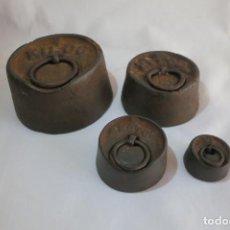 Antigüedades: PESAS DE HIERRO DE FUNDICION 1, 500, 200, 50. Lote 228171073