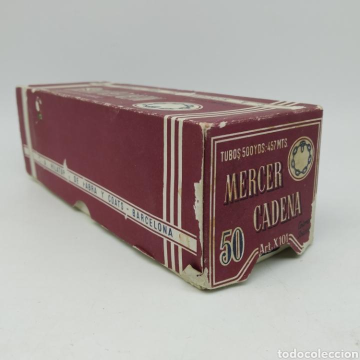 Antigüedades: Antigua caja completa con 12 Bobinas de Hilo Fabra y Coats Mercer Cadena 3 cabos azul marino - Foto 6 - 228335015