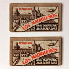 Antigüedades: 2 CUCHILLAS HOJAS DE AFEITAR ANTIGUAS EN FUNDA SIN ABRIR LOS MADRILEÑOS EL CAMELLO MARCA REGISTRADA. Lote 228365848