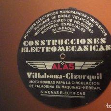 Antigüedades: ANTIGUA REGLA DE CALCULO.CONSTRUCCIONES ELECTROMECANICAS ALAS.VILLBONA-CIZURQUIL.SIRENAS.MOTORES.. Lote 228398285