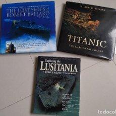 Antigüedades: LOTE DE TRES LIBROS, TITANIC, LUSITANIA Y NAUFRAGIOS. Lote 228655305