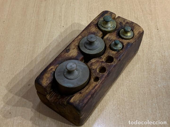 Antigüedades: JUEGO DE PESAS INCOMPLETO - Foto 8 - 228855540