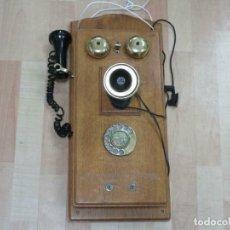 Teléfonos: MURAL MAGNIFICO Y GRAN TELÉFONO MADERA VINTAGE AÑOS 70-80 FUNCIONANDO IMITA A AÑOS 1900 56X26 CM.. Lote 230292620