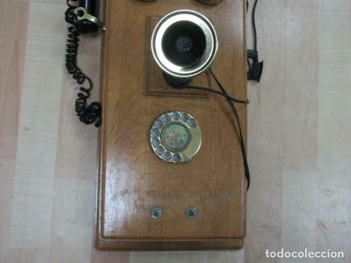 Teléfonos: MURAL MAGNIFICO Y GRAN TELÉFONO MADERA VINTAGE AÑOS 70-80 FUNCIONANDO IMITA A AÑOS 1900 56X26 cm. - Foto 2 - 230292620