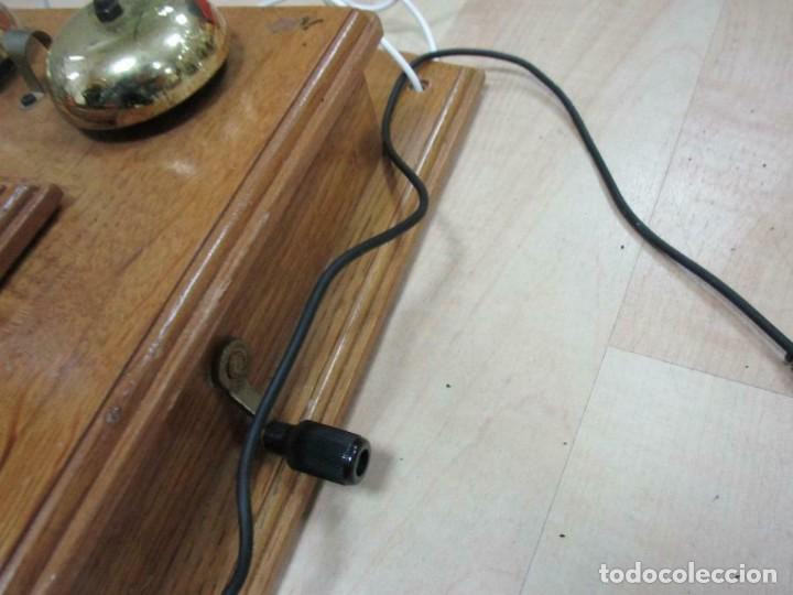 Teléfonos: MURAL MAGNIFICO Y GRAN TELÉFONO MADERA VINTAGE AÑOS 70-80 FUNCIONANDO IMITA A AÑOS 1900 56X26 cm. - Foto 3 - 230292620