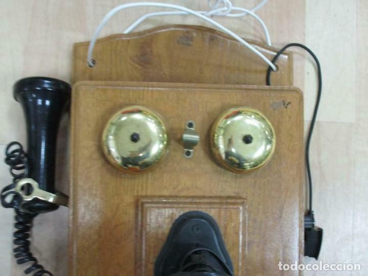 Teléfonos: MURAL MAGNIFICO Y GRAN TELÉFONO MADERA VINTAGE AÑOS 70-80 FUNCIONANDO IMITA A AÑOS 1900 56X26 cm. - Foto 6 - 230292620