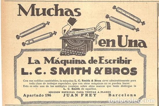 1923 HOJA REVISTA PUBLICIDAD ANUNCIO DE PRENSA MÁQUINA DE ESCRIBIR L.C. SMITH & BROS (Antigüedades - Técnicas - Máquinas de Escribir Antiguas - Smith)