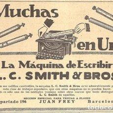 Antigüedades: 1923 HOJA REVISTA PUBLICIDAD ANUNCIO DE PRENSA MÁQUINA DE ESCRIBIR L.C. SMITH & BROS. Lote 230315100