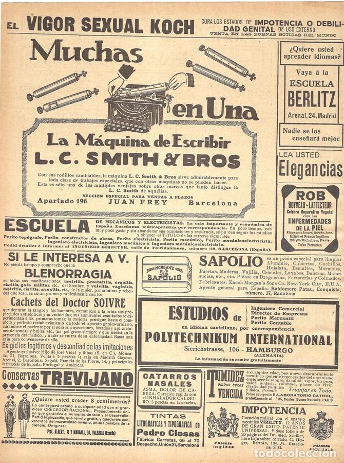 Antigüedades: 1923 HOJA REVISTA PUBLICIDAD ANUNCIO DE PRENSA MÁQUINA DE ESCRIBIR L.C. SMITH & BROS - Foto 2 - 230315100