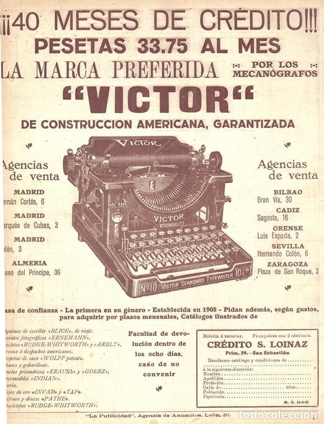 1923 HOJA REVISTA PUBLICIDAD ANUNCIO PRENSA MÁQUINA DE ESCRIBIR AMERICANA 'VICTOR' (Antigüedades - Técnicas - Máquinas de Escribir Antiguas - Otras)