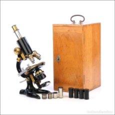 Antigüedades: EXTRAORDINARIO MICROSCOPIO ANTIGUO PROFESIONAL OTTO SEIBERT. ALEMANIA, CIRCA 1920. Lote 230557445