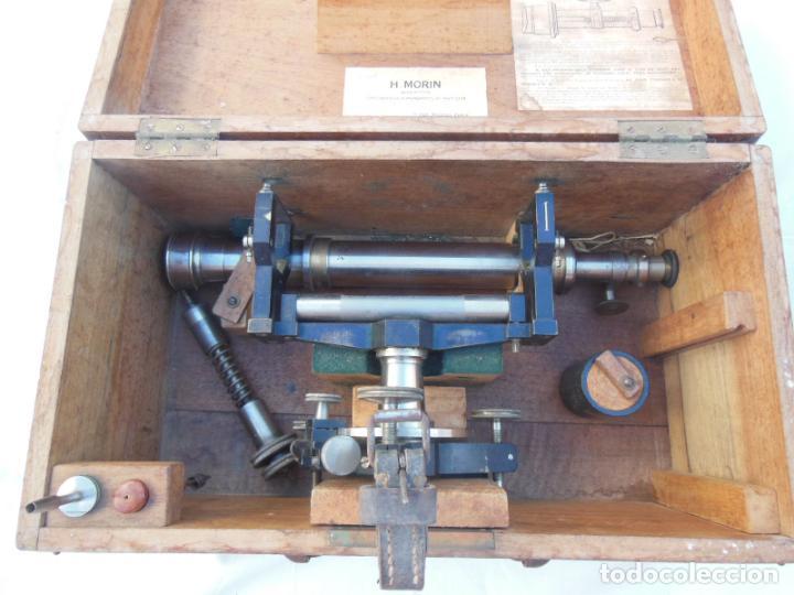 TEODOLITO ANTIGUO H MORIN, PARIS, EN SU CAJA ORIGINAL (Antigüedades - Técnicas - Otros Instrumentos Ópticos Antiguos)