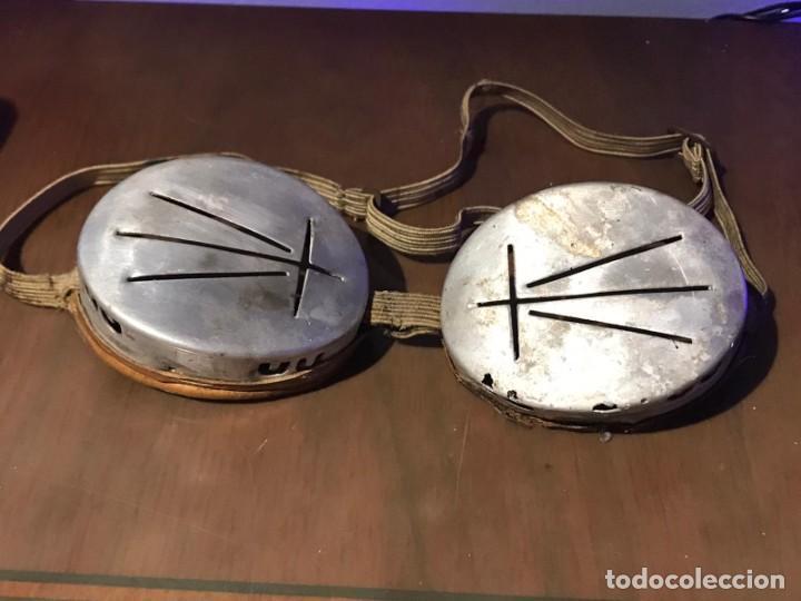 Antigüedades: ANTIGUAS GAFAS DE SOLDADOR - CUERO Y METAL - Foto 2 - 231258180