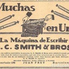 Antigüedades: 1923 HOJA REVISTA PUBLICIDAD ANUNCIO DE PRENSA MÁQUINA DE ESCRIBIR L.C. SMITH & BROS. Lote 231446135