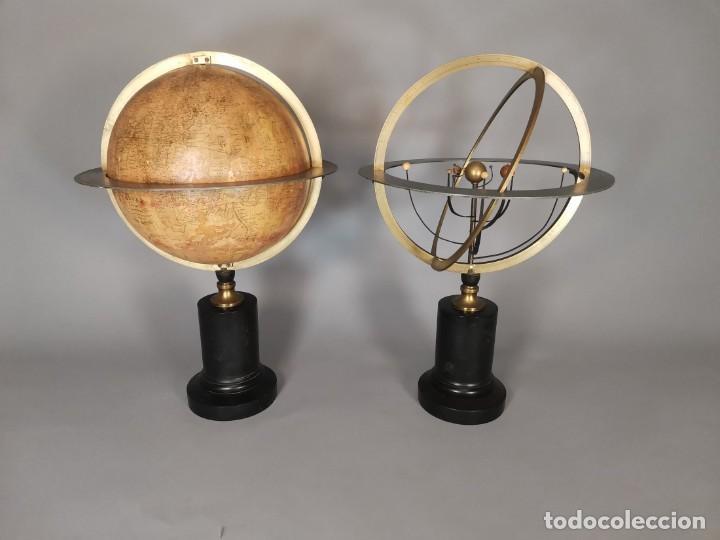 PAREJA DE GLOBO Y PLANETARIO 1853 (Antigüedades - Técnicas - Instrumentos Ópticos - Microscopios Antiguos)