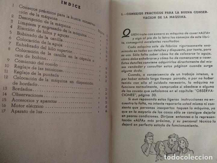 Antigüedades: INSTRUCCIONES PARA EL USO DE LA MÁQUINA DE COSER Y BORDAR ALFA - Foto 3 - 231496230