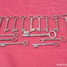 Antiquités: 18 ) LOTE 15 LLAVES / LLAVINES ANTIGUOS - EN HIERRO FORJADO.. Lote 231675545