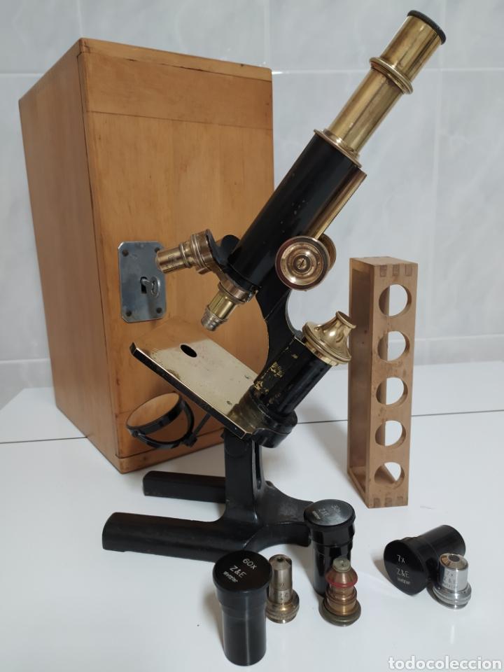 ANTIGUO MICROSCOPIO R. WINKEL GÖTTINGEN. 1915 APROX (Antigüedades - Técnicas - Instrumentos Ópticos - Microscopios Antiguos)