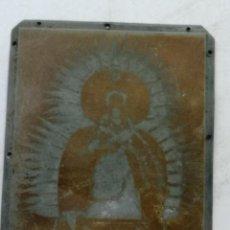 Antiquités: CLICHÉ O PLANCHA DE ZINC DE IMPRENTA. IMAGEN FOTOGRAFÍA VIRGEN, POSIBLE CORONADA?. Lote 232008040